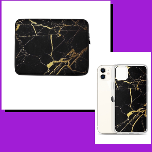 Black Marble Phine case and Laptop Sleeve Duo