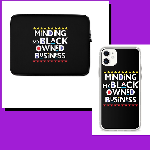 Minding My Black Owned Business Laptop Sleeve and Phone Case Duo
