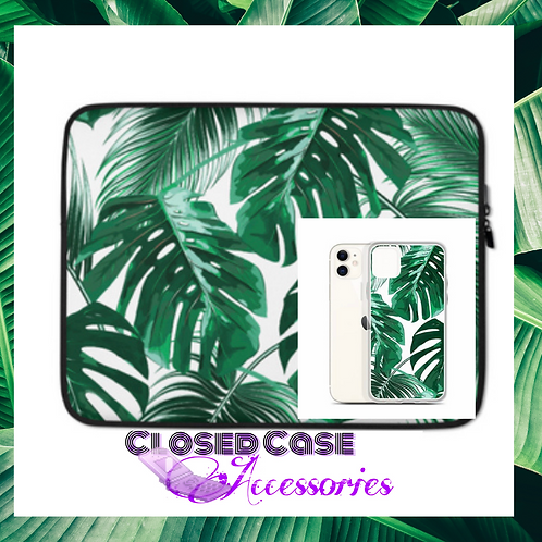 Palm Leaves Laptop Sleeve and Phone Case Duo