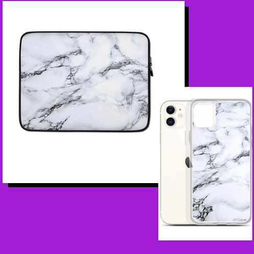 White Marble Phone case and Laptop Sleeve Duo