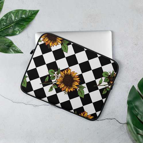 Checkered Sunflower Laptop Sleeve