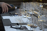 wine tasting setting - glasses and bottle for wine tasting - wine glasses