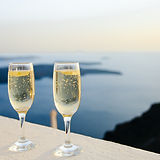 sparkling wine glasses - two bubbly glasses on a sea view
