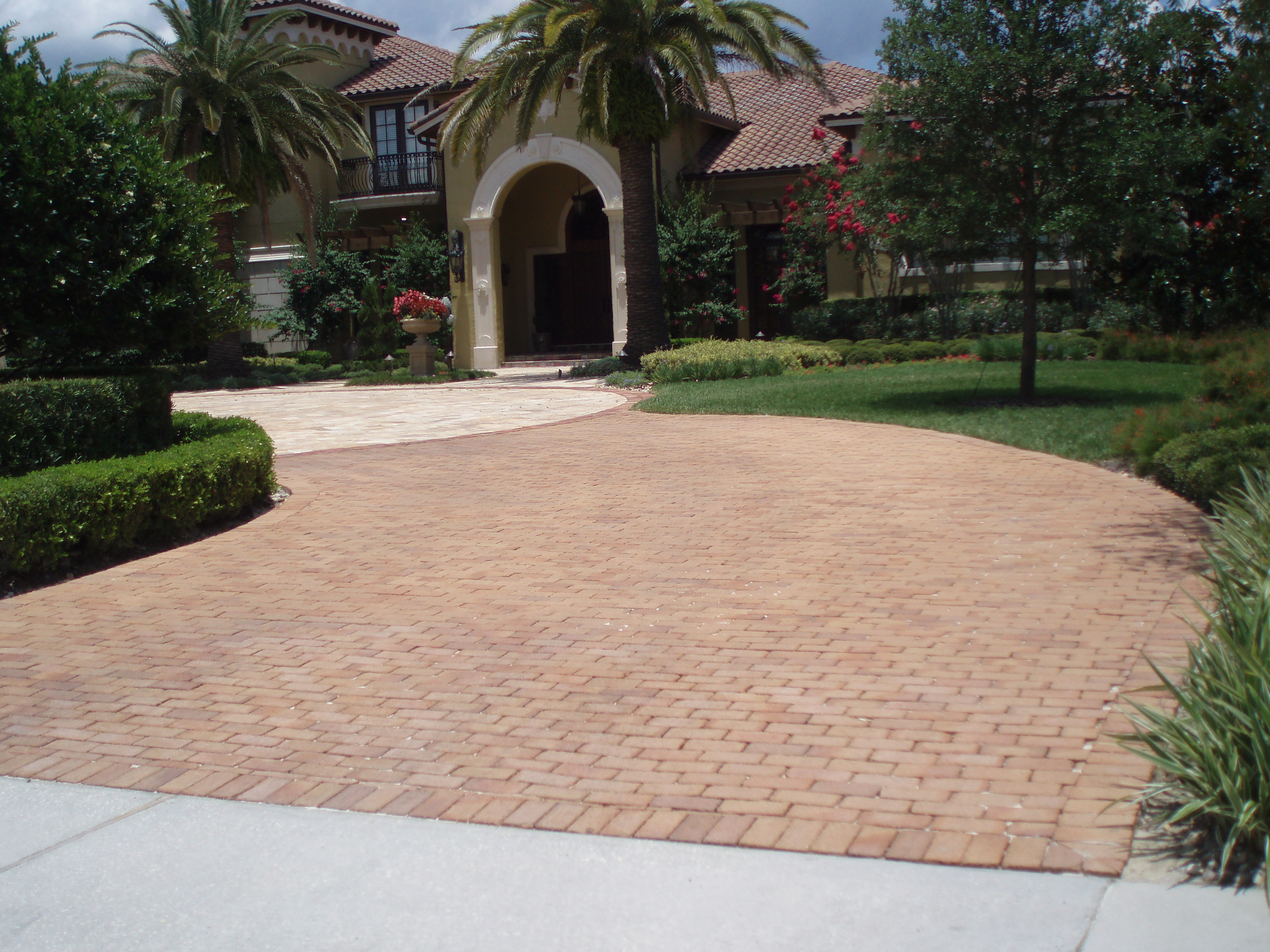 brick and travertine paver driveway heathrow orlando