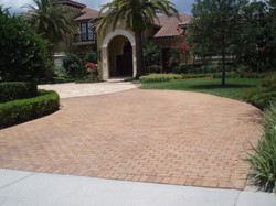 brick and travertine paver driveway heathrow orlando