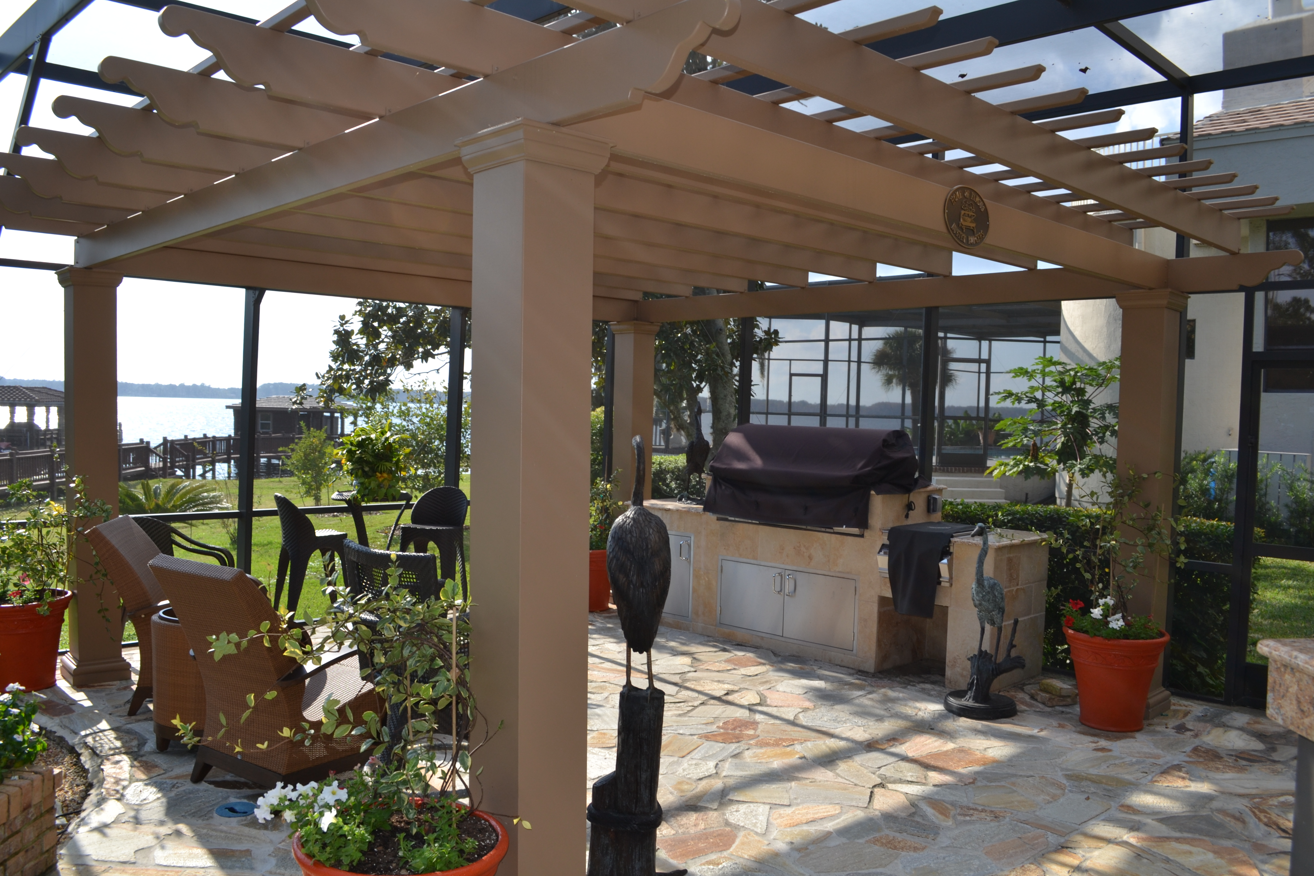 flagstone pavers pergola outdoor kitchen orlando