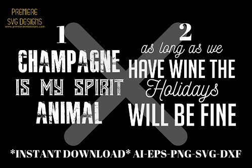 Champagne Animal-Wine Holidays Bundle SVG