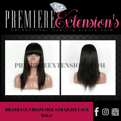 7A Brazilian Virgin Silk Straight Lace Wigs Lace Front Hair Wigs