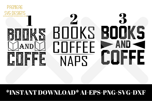 Books Coffee Naps Bundle SVG