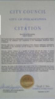 Andy Johnson Citation from the City of Philadelphia