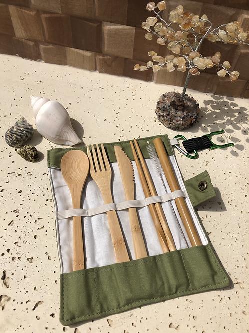 Kit talheres de bambu
