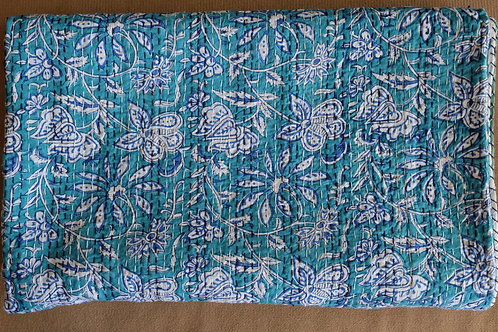 Kantha Quilt - Turquoise Love