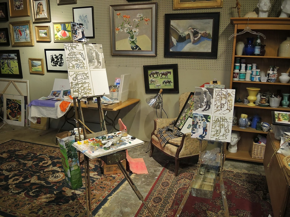 "Peggi Kroll Roberts, ""Along the back wall of my end of the studio. I am preparing to shoot a new instructional DVD. You can see my prepping on the the two easels."""