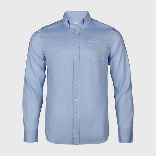 Long Sleeve cotton stretch Oxford shirt in Light Blue