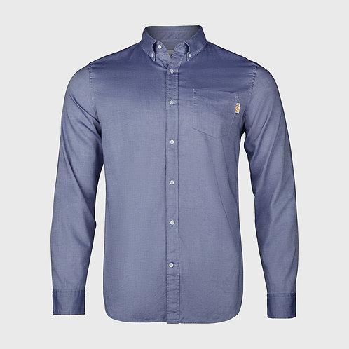Long Sleeve cotton stretch Oxford shirt in Dark Blue