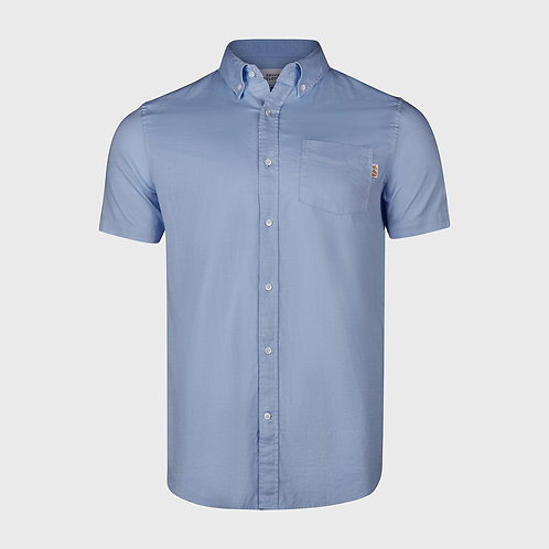 Short Sleeve cotton stretch Oxford shirt in Light Blue