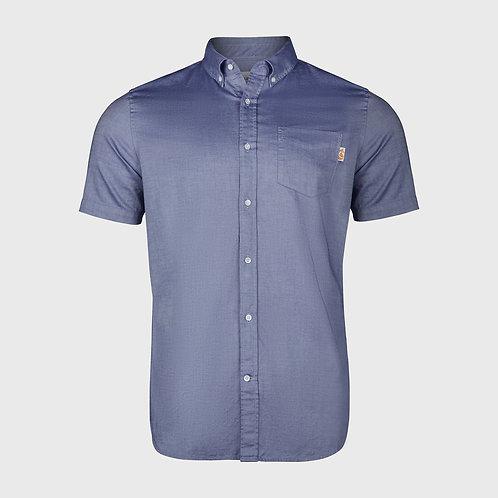 Short Sleeve cotton stretch Oxford shirt in Dark Blue