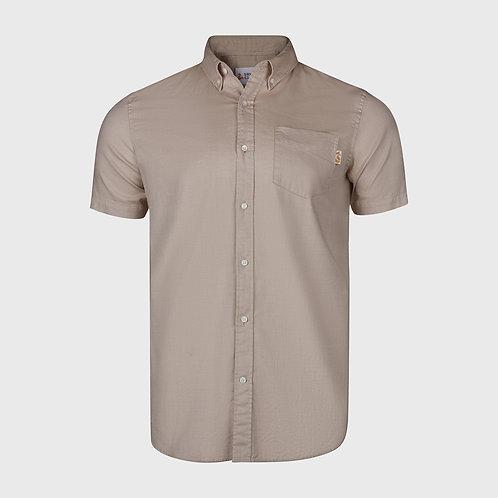 Short Sleeve cotton stretch Oxford shirt in Khaki