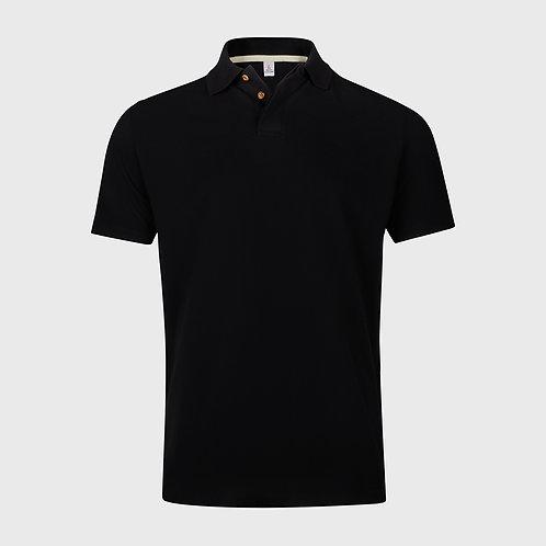 Cotton pique polo shirt in Black