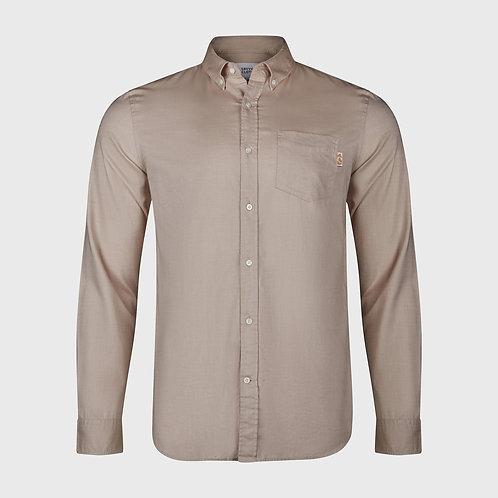 Long Sleeve cotton stretch Oxford shirt in Khaki