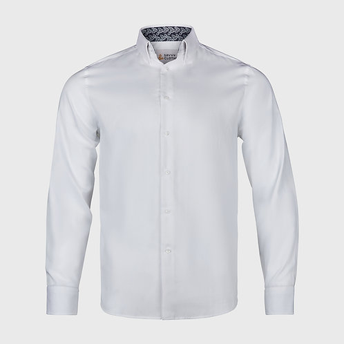 Easy to Iron 100% cotton formal shirt with with Navy print trim