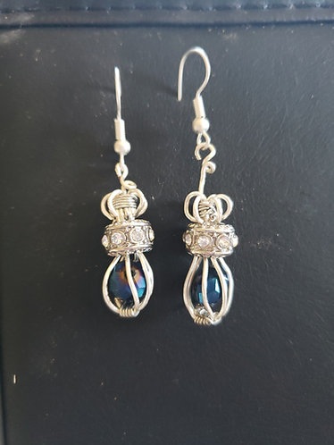 "1"" Earrings with Blue Bead wrapped in silver wire"
