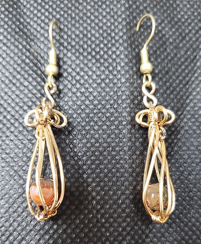 """1"""" Moss Agate Beads Wrapped in Gold Wire"""