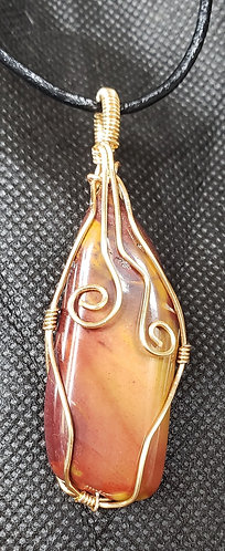 "3/4"" x 2"" Jasper wrapped in gold wire"