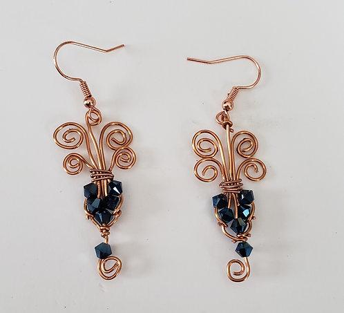 Copper wire and Blue Saworvski Beads