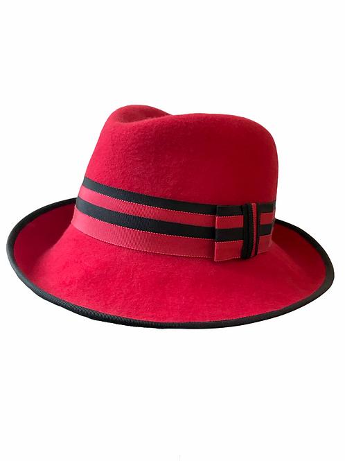 Red wool felt Trilby with Black Underneath