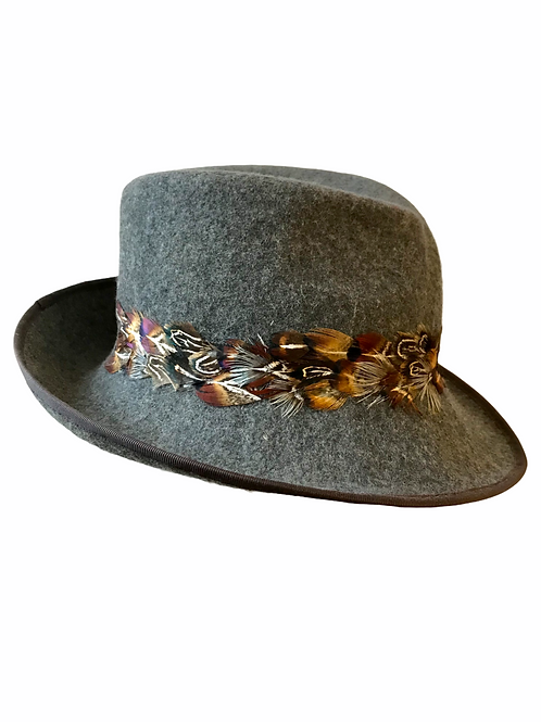 Grey Trilby with Feathers