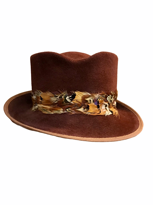Brown peachbloom felt Hat with Feathers