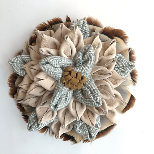Leather, fabric & Feather Flower Brooch