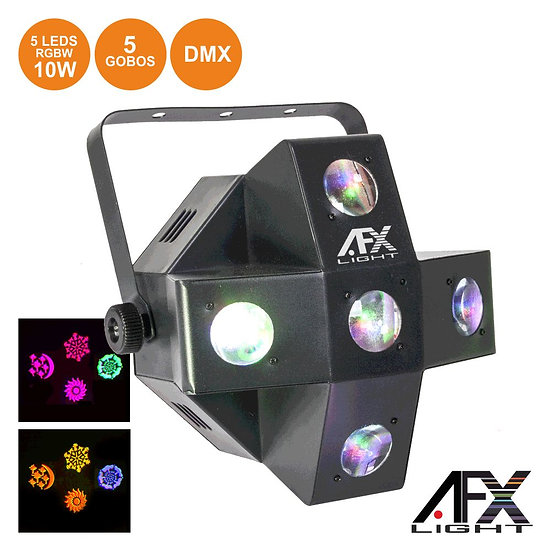 Projetor Luz C/ 5 LEDS 10W RGBW + 5 Gobos DMX Mic AFXLIGHT COMET-GOBO