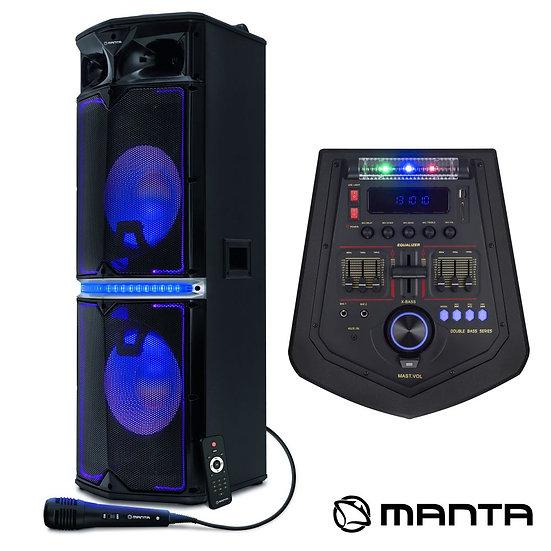 "Coluna Amplificada 2x12"" USB/BT LED RGB MANTA SPK5035"