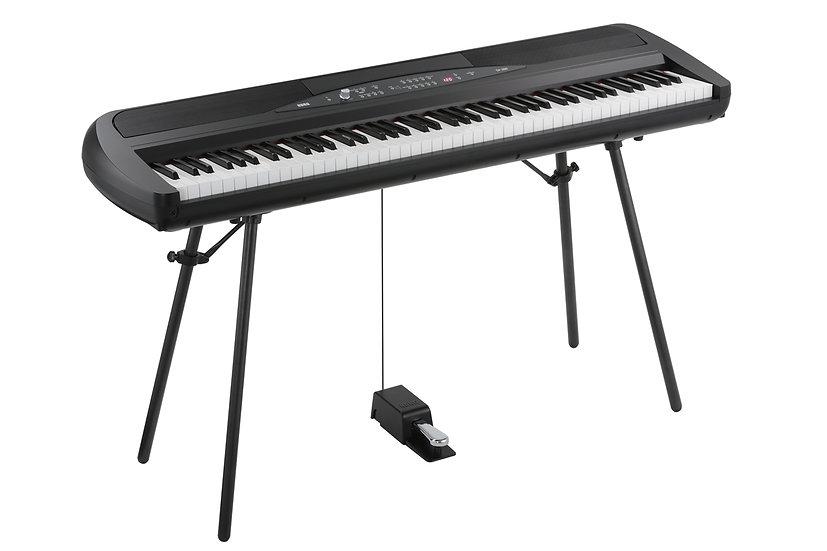 Piano Digital Korg Portátil Com Colunas E Suporte Sp 280 Bk