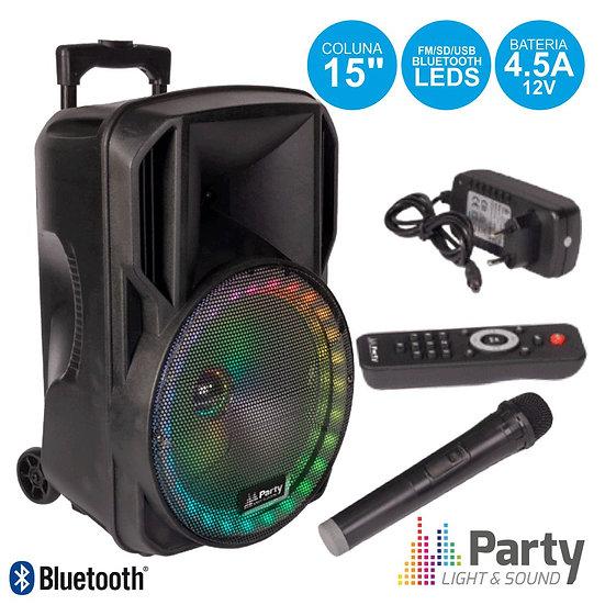 """Coluna Amplificada 15"""" USB/FM/BT/SD/Bat Vhf Preta 800W PARTYPARTY-15RGB"""