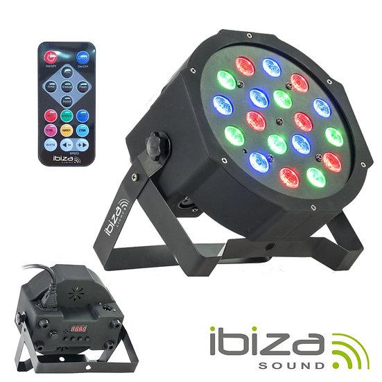 Projetor Luz C/ 18 LEDS RGB DMX Comando IBIZA PARLED181