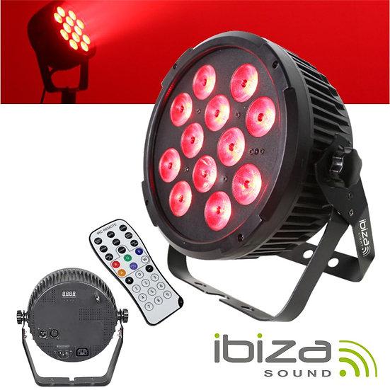 Projetor Luz C/ 12 LEDS RGBWA-UV DMX Comando IBIZA PARLED1212IR