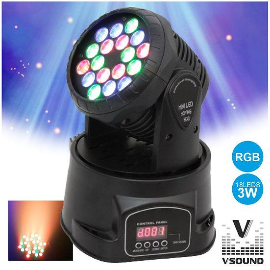 Moving Head Mini 18 LEDS 3W RGB DMX Mic VSOUND LEDMV183RGB