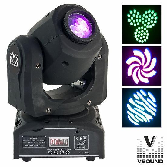Moving Head Mini 1 LED CREE Branco 60W Gobo DMX Mic VSOUND LEDMV160W