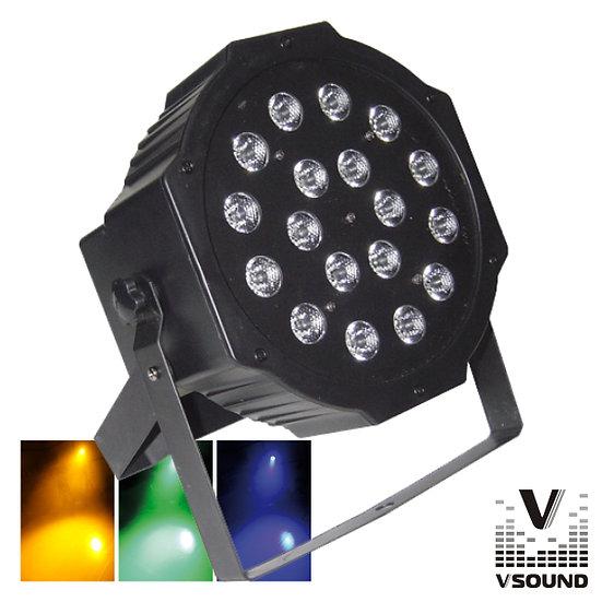 Projetor Luz C/ 18 LEDS 1W RGB DMX Mic Flat VSOUND VSPROJPL18A