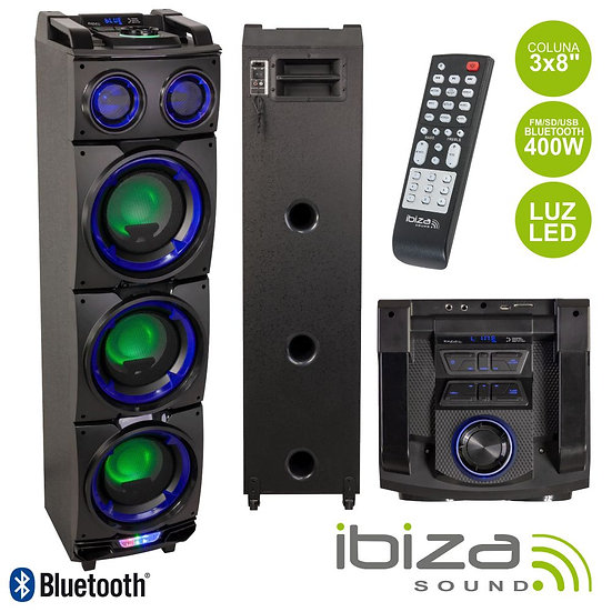 "Coluna Amplificada 3x8"" 400W USB/FM/BT/SD Preta IBIZA STANDUP308"