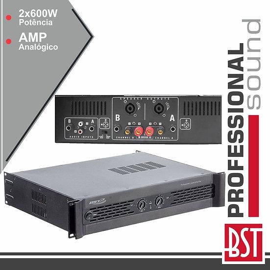 Amplificador Áudio Analógico Pro 2x600W BST XS600
