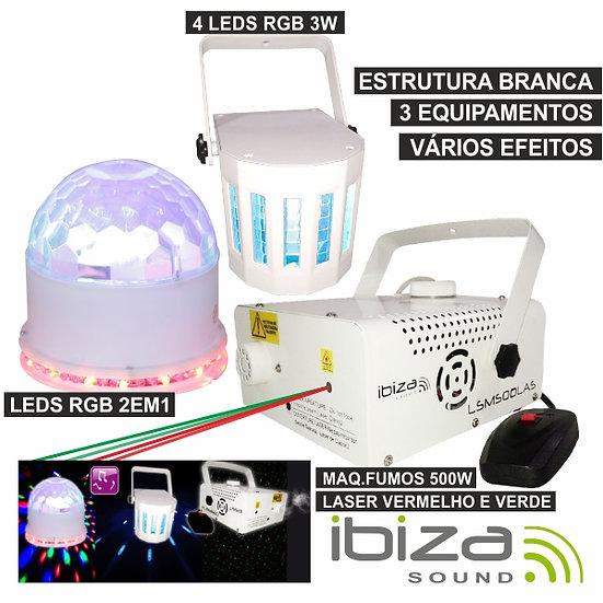 Pack Maquina Fumos 500W / Ufo-Astro / Projetor RGB IBIZAWHITE-PACK5
