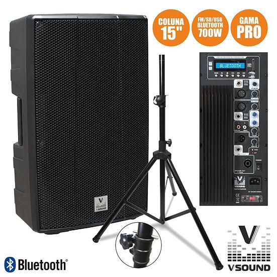 "Coluna Amplificada PRO 15"" USB/SD/FM/BT 700W Suporte VSOUND VSSPRO15APUSB-PACK"