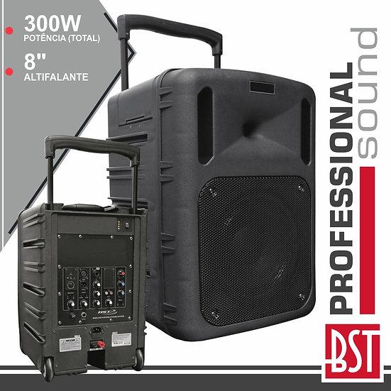 "Coluna Amplificada Pro 8"" 300W C/ Receptor PWa E Bat BSTPWA200SL"