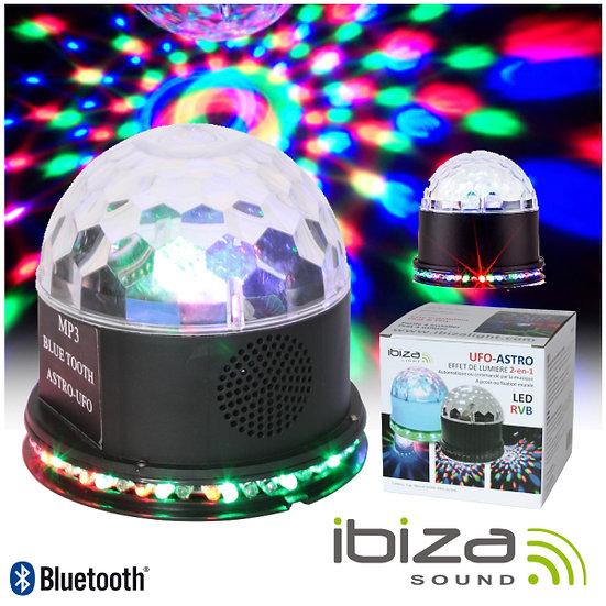 Projetor Luz C/ 5 LEDS 1W RGBAW Coluna 3W USB/BT/SD IBIZA ASTRO-BAT-BT