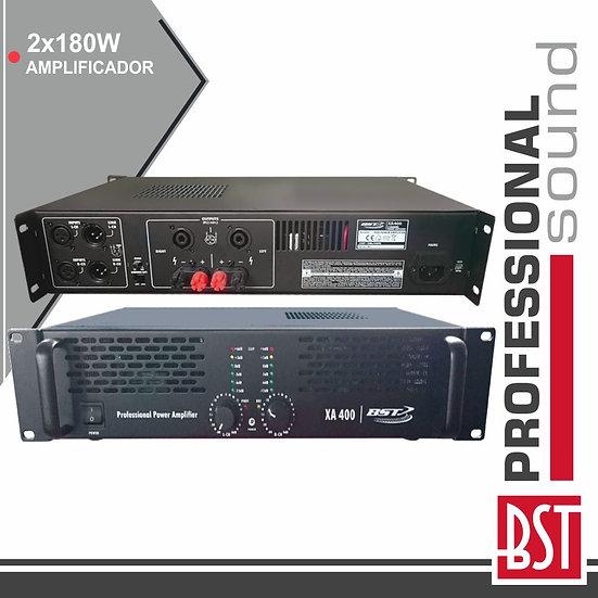 Amplificador Áudio Pro 2x180W Saída Link 4/8 Ohms BST XA400