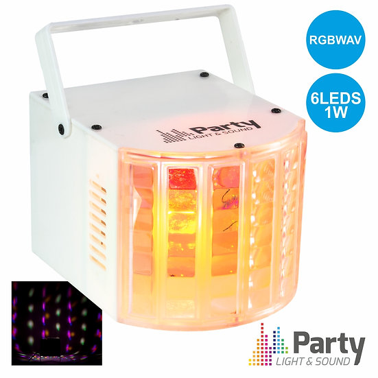 Projetor Luz C/ 6 LEDS RGBWAV 1W Branco PARTY PARTY-DERBY6